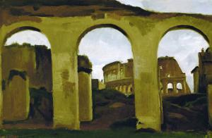 The Colosseum, Seen Across the Arcades of the Basilica Saint Constantine, Rome by Jean-Baptiste-Camille Corot