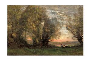 The Fisherman, Evening Effect, Ca 1860-1870 by Jean-Baptiste-Camille Corot