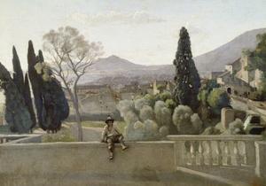 The Gardens of the Villa D'Este, Tivoli by Jean-Baptiste-Camille Corot