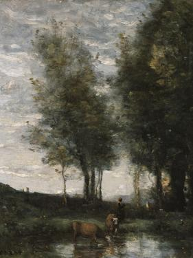 The Pond, Cowherd by Jean-Baptiste-Camille Corot