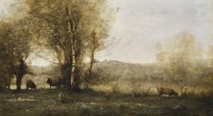 The Pond with Three Cows by Jean-Baptiste-Camille Corot