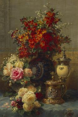 Roses, Anemones and Peonies, Strawberries, a Silver-Gilt Ostrich Egg Cup and a German Gold-Gilt… by Jean Baptiste Claude Robie