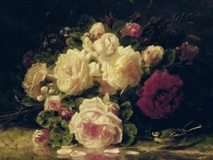 Roses with a Blue Tit by a Stream by Jean Baptiste Claude Robie
