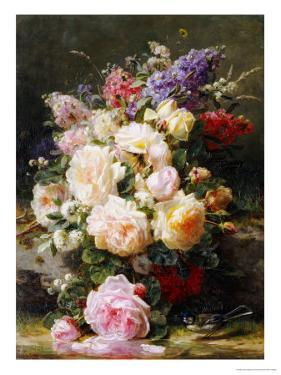 Still Life with Roses, Syringas and a Blue Tit on a Mossy Bank by Jean Baptiste Claude Robie