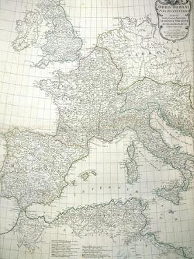 Map of the Western Part of the Roman Empire, 1763 by Jean-baptiste D'anville