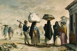 Native Women from Wild Country Seeking Work as Laundresses in Rio De Janeiro by Jean Baptiste Debret