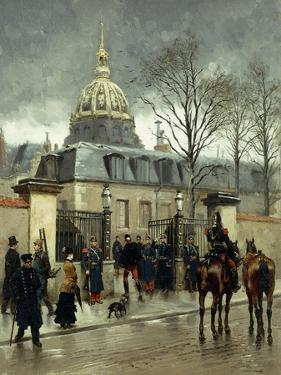 Outside Les Invalides, Paris by Jean-Baptiste Edouard Detaille