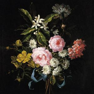 Bouquet of Chamomile, Roses, Orange Blossom and Carnations Tied with a Blue Ribbon by Jean-Baptiste Monnoyer