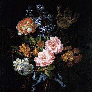 Bouquet of Poppy Anemones, Roses, Double Campernelle, Hyacinth, Tulip and Auricula by Jean-Baptiste Monnoyer