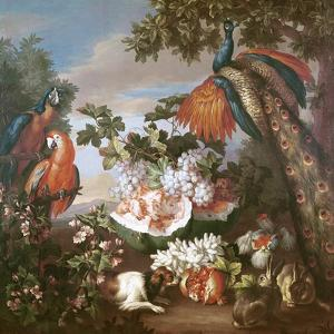 Fruit and Exotic Birds in a Landscape by Jean-Baptiste Monnoyer