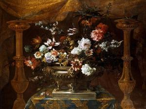 Still Life with Flowers in a Silver Vase with Perfume Burners, C.1690-99 by Jean-Baptiste Monnoyer