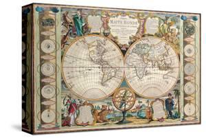 Antique Map, Mappe Monde, 1755 by Jean-baptiste Nolin