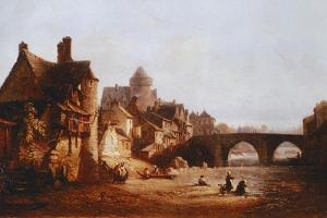 The Old Bridge, the Castle and Belaille Mill in Laval by Jean-baptiste Nolin