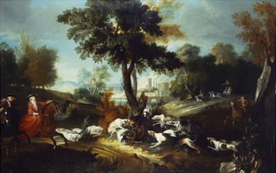 The Hunt with Wolf; La Chasse Au Loop by Jean Baptiste Oudry (Attr to)