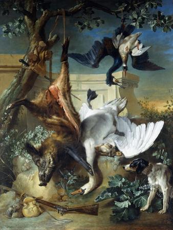 La Retour De Chasse': a Hunting Dog Guarding Dead Game