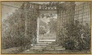 Landscape with a Staircase and a Balustrade, ca. 1744-47 by Jean-Baptiste Oudry