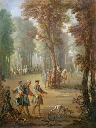 Louis Xv (1710-74) and His Bloodhound at Puys, Cartoon for a Tapestry, 1738