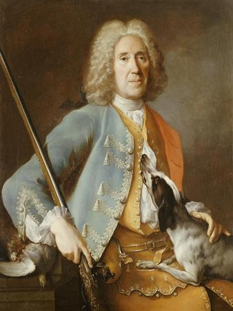 Portrait of a Sportsman Holding a Gun with a Hound