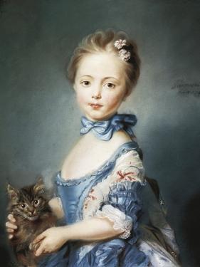 A Girl with a Kitten by Jean-Baptiste Perronneau