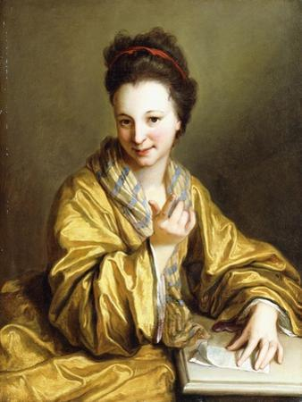 A Young Lady, Wearing a Yellow Robe, Seated at a Table, Beckoning, 1703