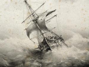 Jean Bart, 74-Gun French Ship in Storm, Lithograph by Ferdinand Perret, 19th Century