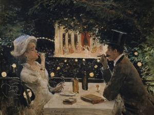 "Dinner at ""The Ambassadors"" by Jean Béraud"