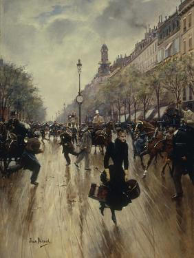 Four PM at the Carrefour Drouot and the Grand Boulevard by Jean Béraud