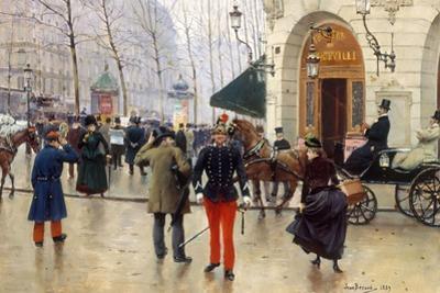 Le Boulevard des Capucines et le Théâtre du Vaudeville by Jean Béraud