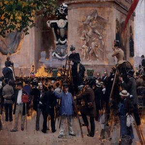 Les funérailles de Victor Hugo, place de l'Etoile (1er juin 1885) by Jean Béraud