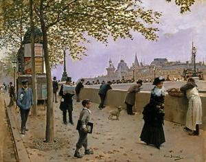 On the Banks of the River Seine by Jean Béraud