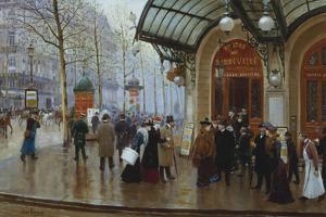 Outside the Theatre Du Vaudeville, Paris by Jean Béraud