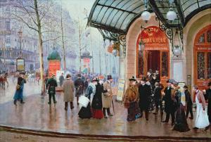 Outside the Vaudeville Theatre, Paris by Jean Béraud