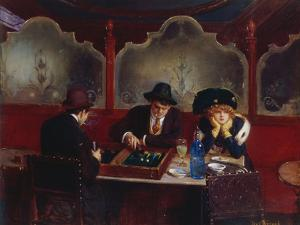 Playing Backgammon by Jean Béraud