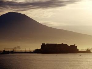 Castel Dell'Ovo and Vesuvius in Background, Naples, Italy by Jean-Bernard Carillet