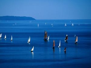 Sailing Boats in Bay, Brest, France by Jean-Bernard Carillet