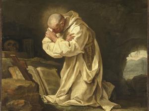 Saint Bruno en prière dans le désert by Jean Bernard Restout