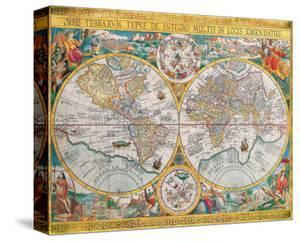 Antique Map, Orbis Terrarum, 1636 by Jean Boisseau