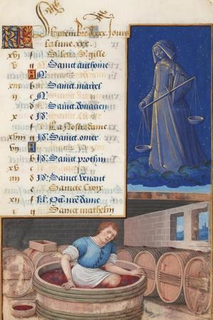 Virgo and Treading Grapes, Calendar for the Feast Days Celebrated in September, C.1500