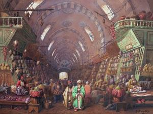 A Bazaar in Constantinople, 1873 by Jean Brindesi