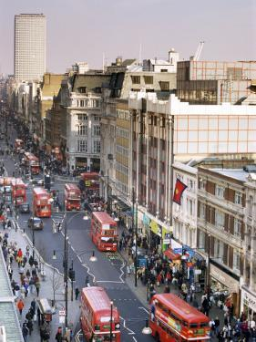 Birds Eye View of Oxford Street Looking East to Centre Point, London, England by Jean Brooks