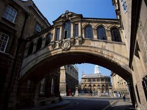 Bridge of Sighs with Sheldonian Theatre in the Background, Oxford, Oxfordshire, England by Jean Brooks