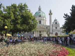 Buskers Festival at St. Charles' Church (Karlskirche), Resselpark, Karlsplatz, Vienna, Austria by Jean Brooks