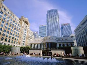 Canary Wharf from Cabot Square, Docklands, London, England, UK by Jean Brooks