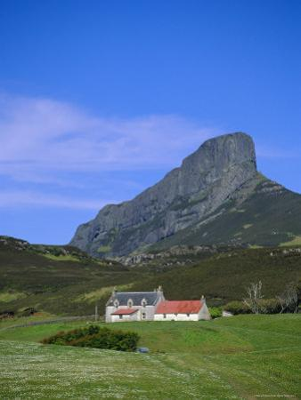 Galmisdale House and an Sgurr, Isle of Eigg, Inner Hebrides, Scotland, UK, Europe by Jean Brooks
