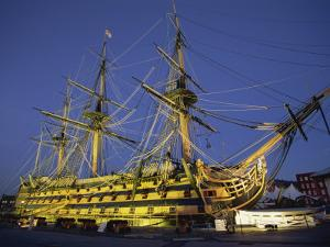Hms Victory at Night, Portsmouth Dockyard, Portsmouth, Hampshire, England, United Kingdom, Europe by Jean Brooks