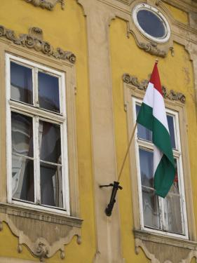 Hungarian Flag and House Detaill, Uri Utca, Old Town, Budapest, Hungary, Europe by Jean Brooks