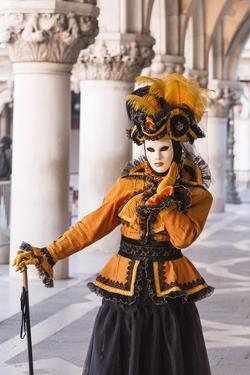 People in Masks and Costumes, Carnival, Venice, Veneto, Italy, Europe by Jean Brooks