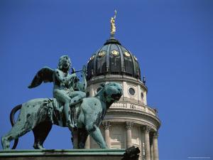 Statue and Dome of French Cathedral, Gendarmenmarkt, Berlin, Germany by Jean Brooks