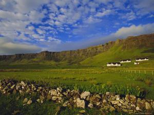 Stone Wall and Belnn Bhuldhe, Cleadale, Isle of Eigg, Inner Hebrides, Scotland, UK, Europe by Jean Brooks