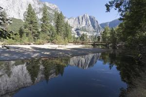 Swinging Bridge over Merced River, Cathedral Beach, Yosemite National Park, California, Usa by Jean Brooks